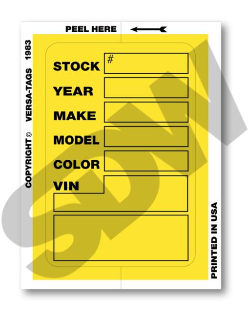 Versa-Tags Stock Stickers Kleer Bak Stock Stickers